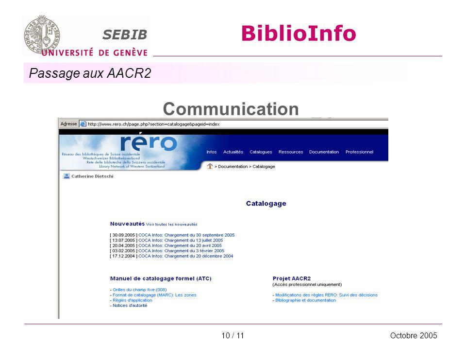 Passage aux AACR2 SEBIB BiblioInfo Octobre 200510 / 11 Communication