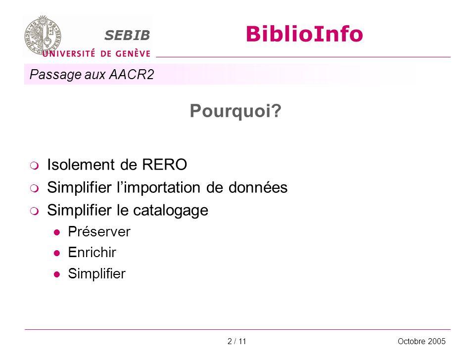 Passage aux AACR2 SEBIB BiblioInfo Octobre 20052 / 11 Pourquoi? Isolement de RERO Simplifier limportation de données Simplifier le catalogage Préserve