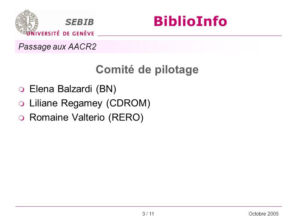Passage aux AACR2 SEBIB BiblioInfo Octobre 20054 / 11 Groupe de projet Pierre Gavin (chef de projet, bibliothécaire indépendant) Anne Brunner (RERO) Anne Jolidon (bibliothécaire indépendante) Claude Lièvre (RERO)