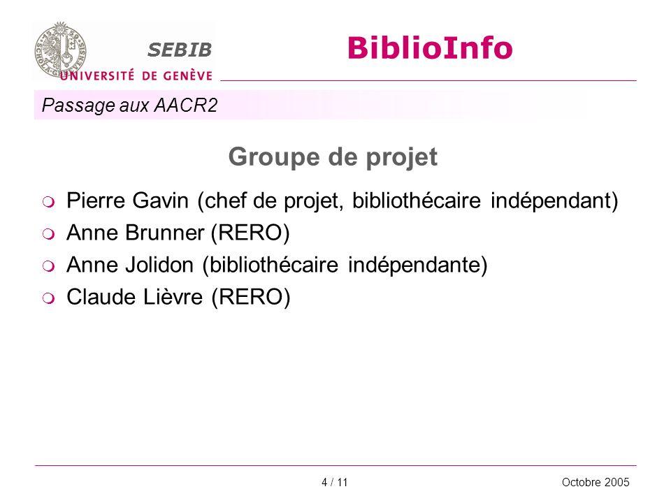 Passage aux AACR2 SEBIB BiblioInfo Octobre 20054 / 11 Groupe de projet Pierre Gavin (chef de projet, bibliothécaire indépendant) Anne Brunner (RERO) A