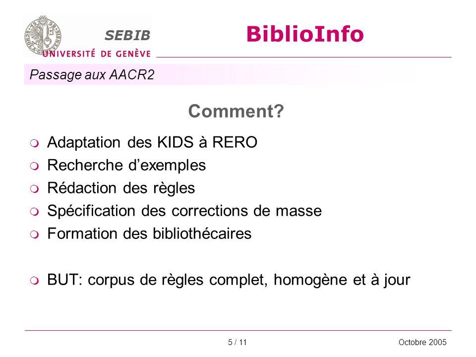 Passage aux AACR2 SEBIB BiblioInfo Octobre 20055 / 11 Comment? Adaptation des KIDS à RERO Recherche dexemples Rédaction des règles Spécification des c