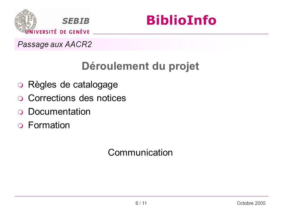 Passage aux AACR2 SEBIB BiblioInfo Octobre 20056 / 11 Déroulement du projet Règles de catalogage Corrections des notices Documentation Formation Commu