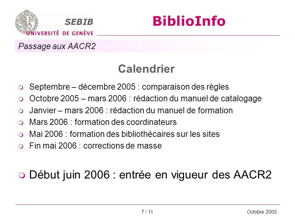 Passage aux AACR2 SEBIB BiblioInfo Octobre 20058 / 11 Ce qui ne change pas Format MARC21 Bloc de la description bibliographique quasi identique Vedettes personnes physiques quasi identiques Langue de travail