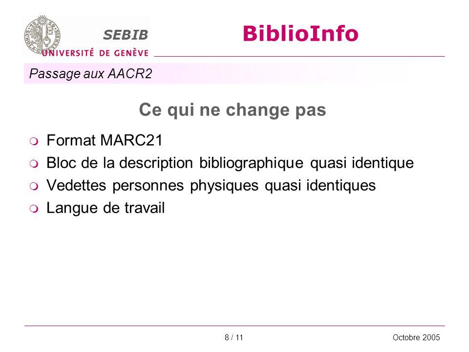 Passage aux AACR2 SEBIB BiblioInfo Octobre 20058 / 11 Ce qui ne change pas Format MARC21 Bloc de la description bibliographique quasi identique Vedett