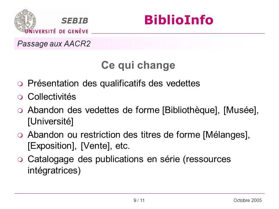Passage aux AACR2 SEBIB BiblioInfo Octobre 20059 / 11 Ce qui change Présentation des qualificatifs des vedettes Collectivités Abandon des vedettes de