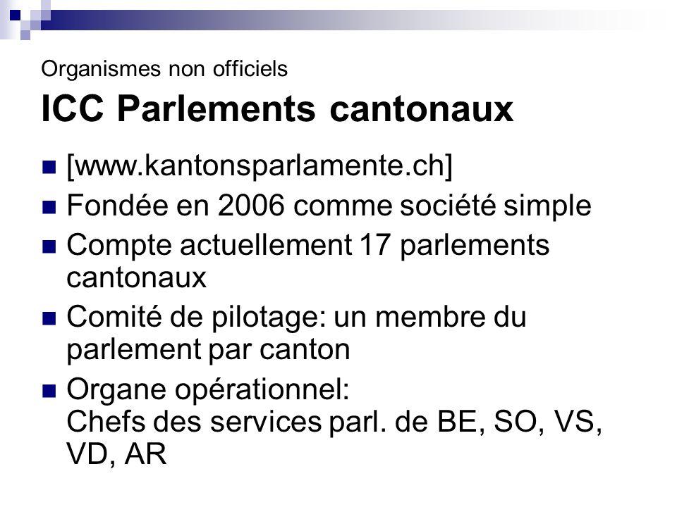 Organismes non officiels ICC Parlements cantonaux [www.kantonsparlamente.ch] Fondée en 2006 comme société simple Compte actuellement 17 parlements cantonaux Comité de pilotage: un membre du parlement par canton Organe opérationnel: Chefs des services parl.