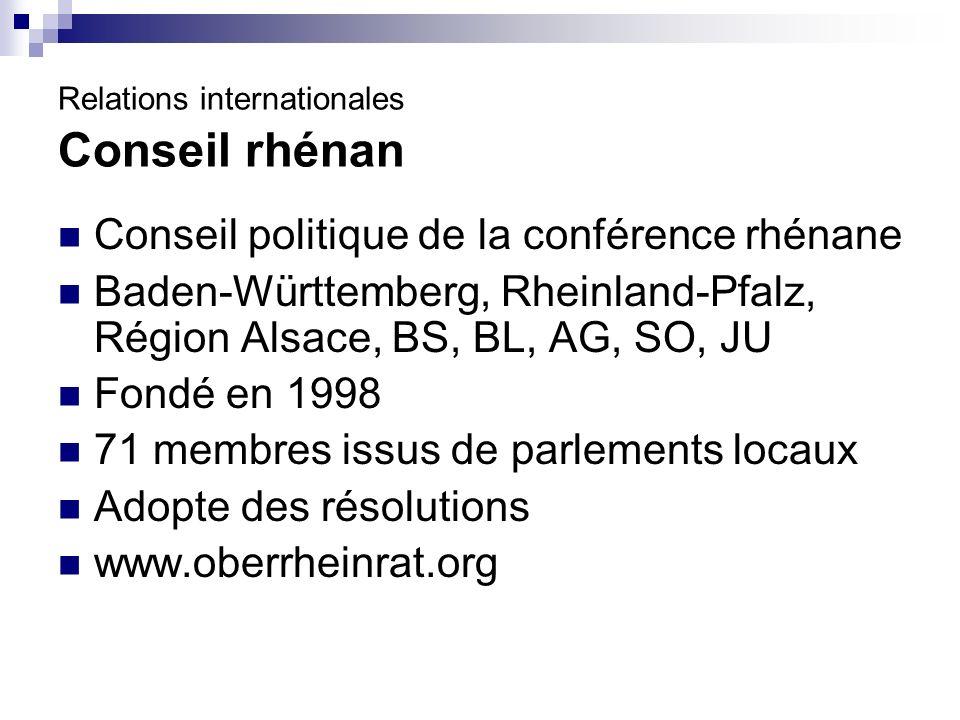 Conseil politique de la conférence rhénane Baden-Württemberg, Rheinland-Pfalz, Région Alsace, BS, BL, AG, SO, JU Fondé en 1998 71 membres issus de parlements locaux Adopte des résolutions www.oberrheinrat.org