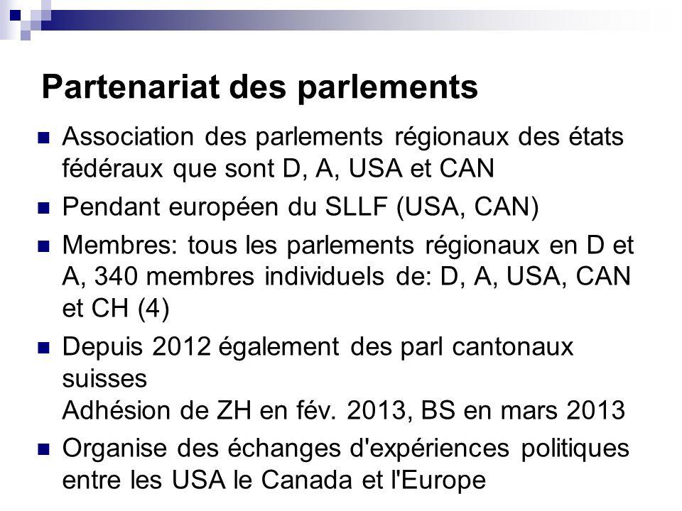 Partenariat des parlements Association des parlements régionaux des états fédéraux que sont D, A, USA et CAN Pendant européen du SLLF (USA, CAN) Membres: tous les parlements régionaux en D et A, 340 membres individuels de: D, A, USA, CAN et CH (4) Depuis 2012 également des parl cantonaux suisses Adhésion de ZH en fév.