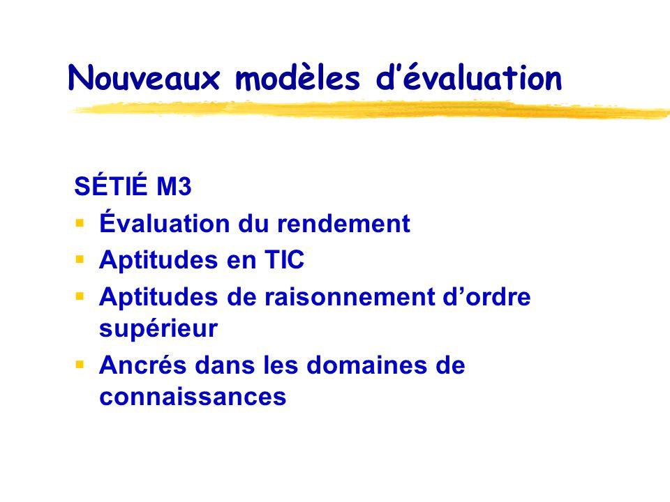 Nouveaux modèles dévaluation SÉTIÉ M3 Évaluation du rendement Aptitudes en TIC Aptitudes de raisonnement dordre supérieur Ancrés dans les domaines de connaissances