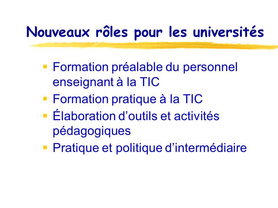 Nouveaux rôles pour les universités Formation préalable du personnel enseignant à la TIC Formation pratique à la TIC Élaboration doutils et activités