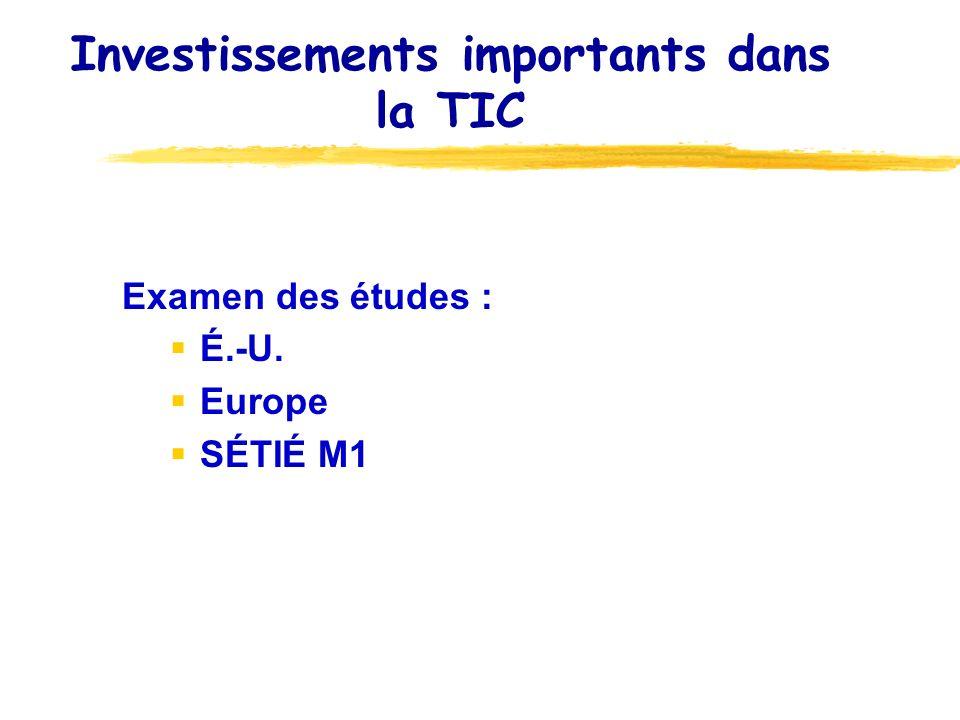 Investissements importants dans la TIC Examen des études : É.-U. Europe SÉTIÉ M1