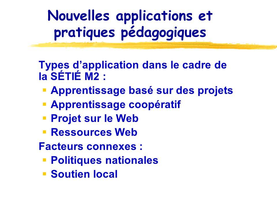 Nouvelles applications et pratiques pédagogiques Types dapplication dans le cadre de la SÉTIÉ M2 : Apprentissage basé sur des projets Apprentissage co