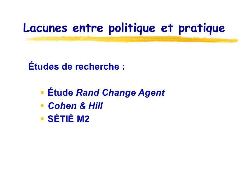 Lacunes entre politique et pratique Études de recherche : Étude Rand Change Agent Cohen & Hill SÉTIÉ M2