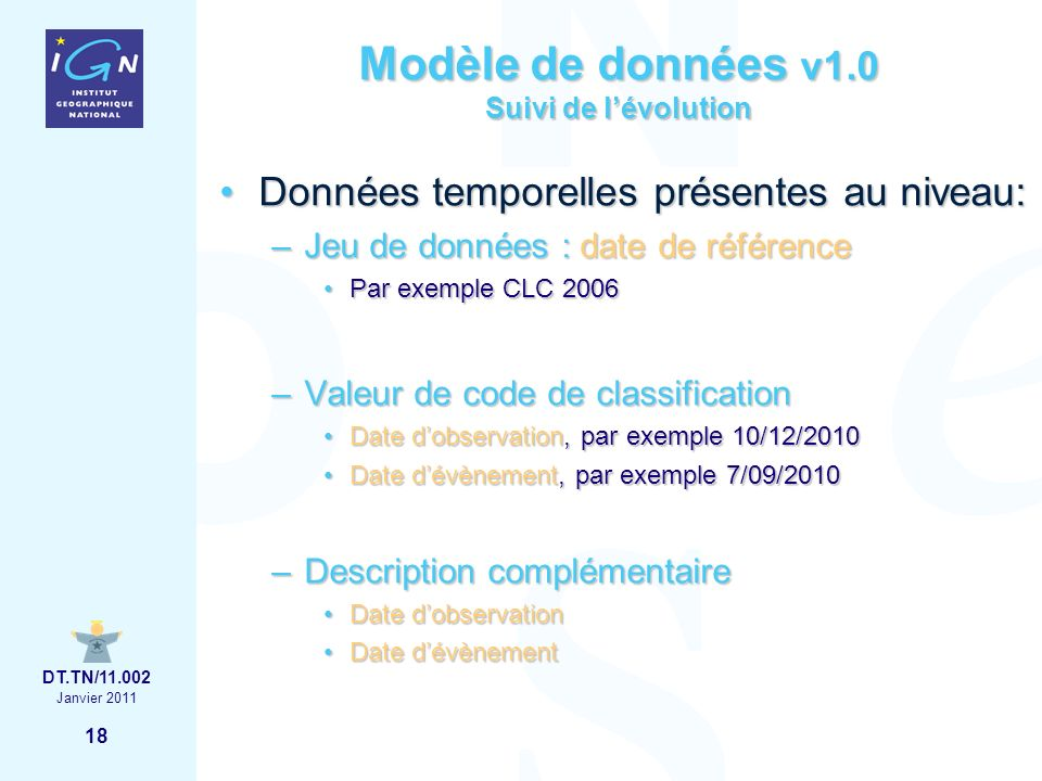 18 Janvier 2011 DT.TN/11.002 Modèle de données v1.0 Suivi de lévolution Données temporelles présentes au niveau:Données temporelles présentes au niveau: –Jeu de données : date de référence Par exemple CLC 2006Par exemple CLC 2006 –Valeur de code de classification Date dobservation, par exemple 10/12/2010Date dobservation, par exemple 10/12/2010 Date dévènement, par exemple 7/09/2010Date dévènement, par exemple 7/09/2010 –Description complémentaire Date dobservationDate dobservation Date dévènementDate dévènement