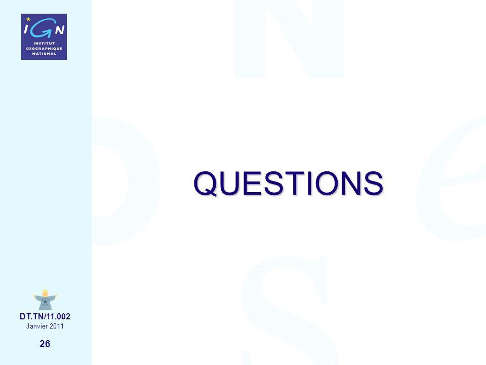 26 Janvier 2011 DT.TN/11.002 QUESTIONS