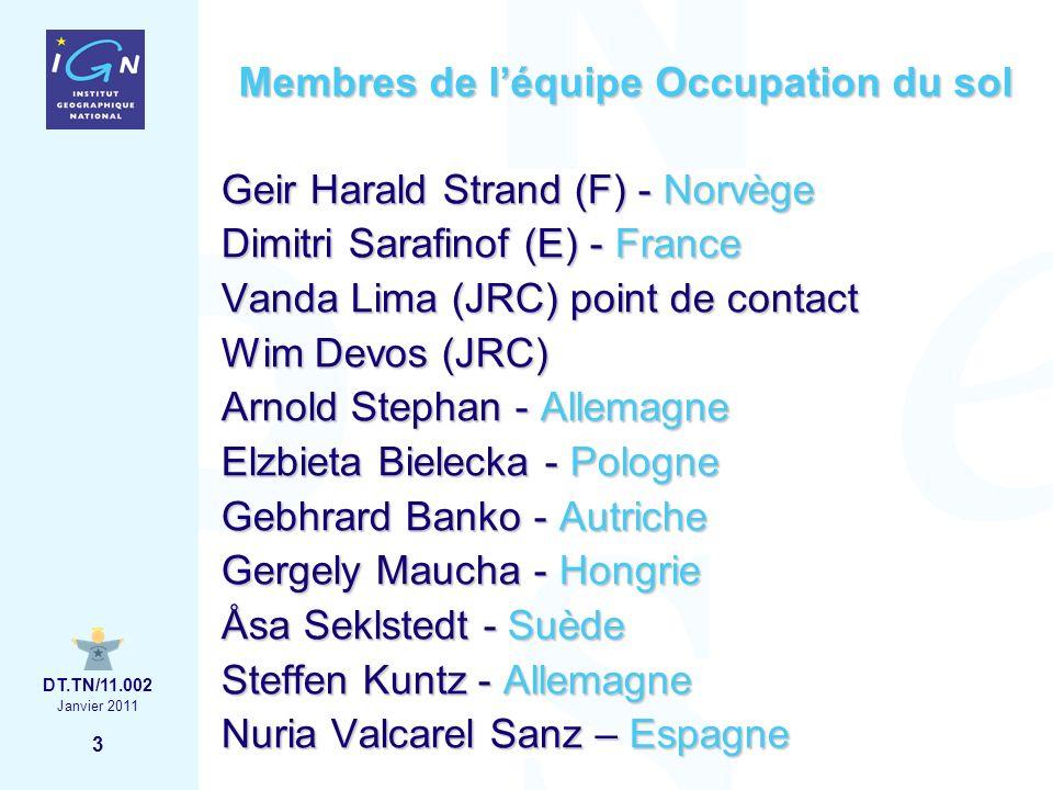 4 Janvier 2011 DT.TN/11.002 Membres de léquipe Occupation du sol Kick-off Francfort