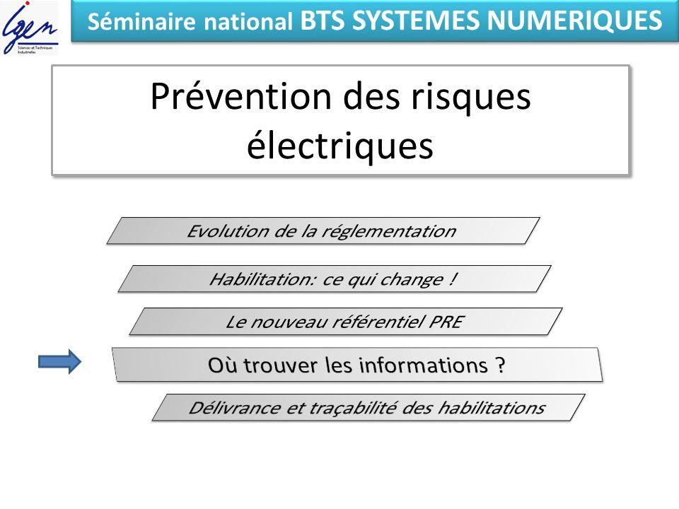 Prévention des risques électriques Eléments de constat Séminaire national BTS SYSTEMES NUMERIQUES