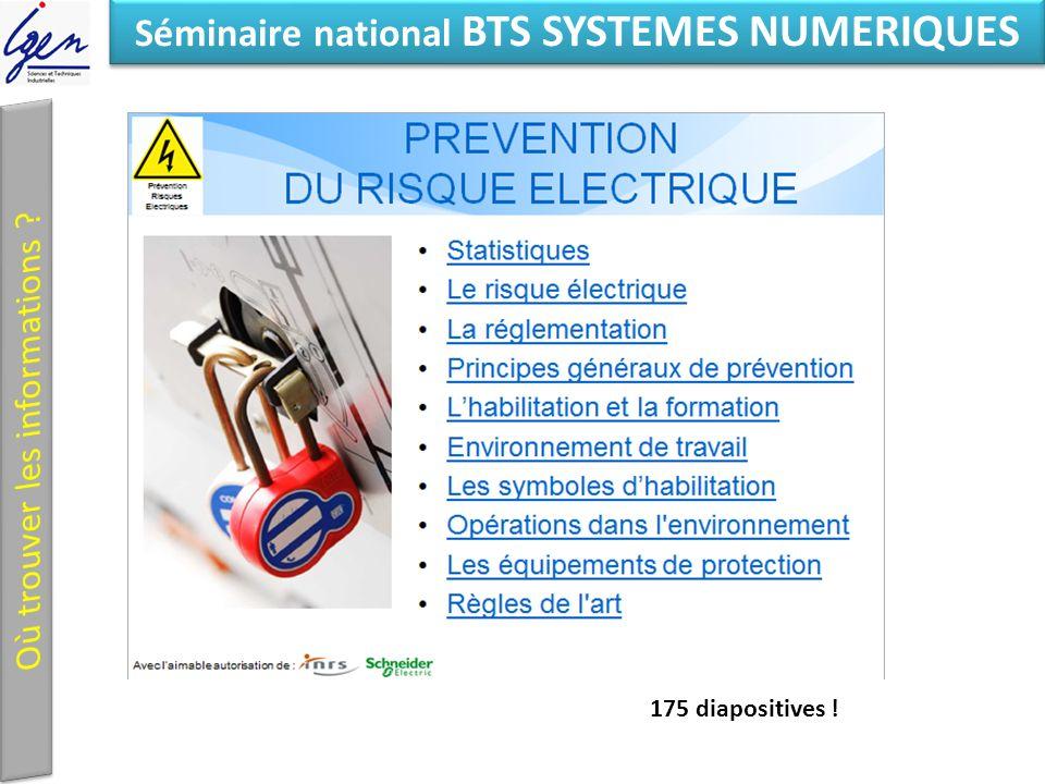 Eléments de constat Séminaire national BTS SYSTEMES NUMERIQUES 175 diapositives !