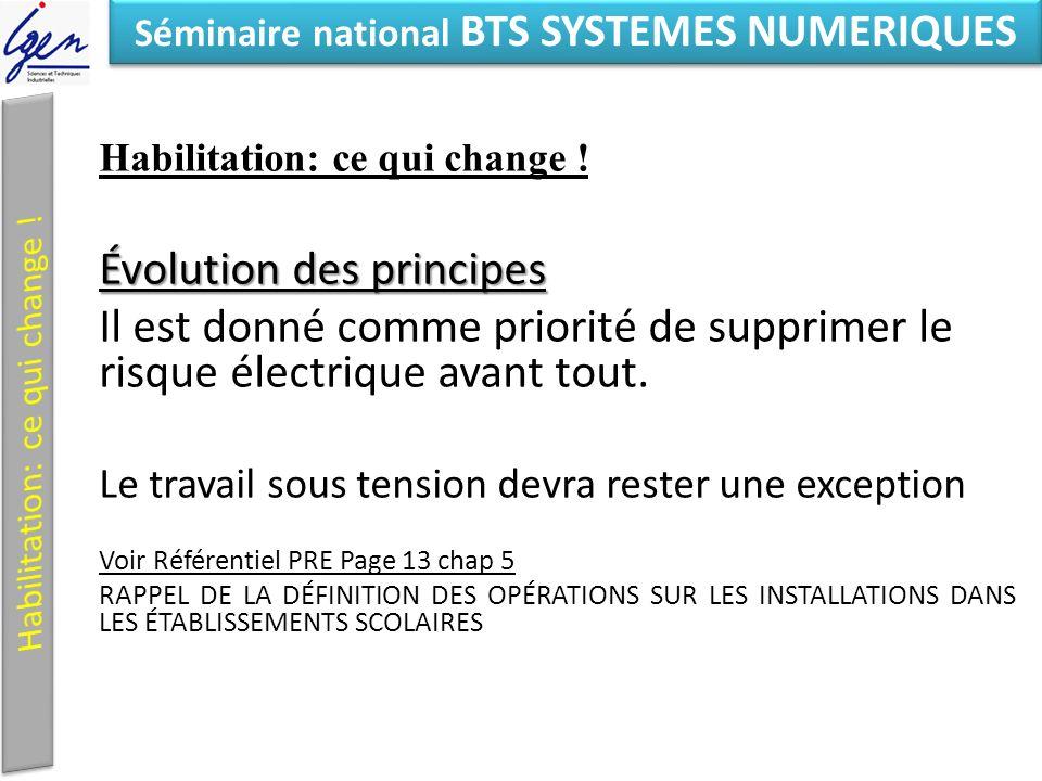 Eléments de constat Séminaire national BTS SYSTEMES NUMERIQUES Habilitation: ce qui change .