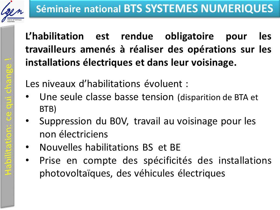 Eléments de constat Séminaire national BTS SYSTEMES NUMERIQUES Lhabilitation est rendue obligatoire pour les travailleurs amenés à réaliser des opérations sur les installations électriques et dans leur voisinage.
