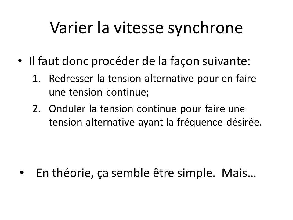 Varier la vitesse synchrone Il faut donc procéder de la façon suivante: 1.Redresser la tension alternative pour en faire une tension continue; 2.Ondul