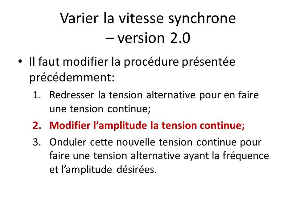 Varier la vitesse synchrone – version 2.0 Il faut modifier la procédure présentée précédemment: 1.Redresser la tension alternative pour en faire une t