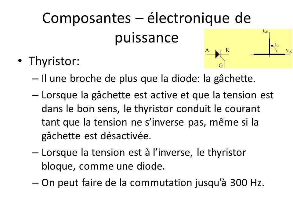 Composantes – électronique de puissance Thyristor: – Il une broche de plus que la diode: la gâchette. – Lorsque la gâchette est active et que la tensi