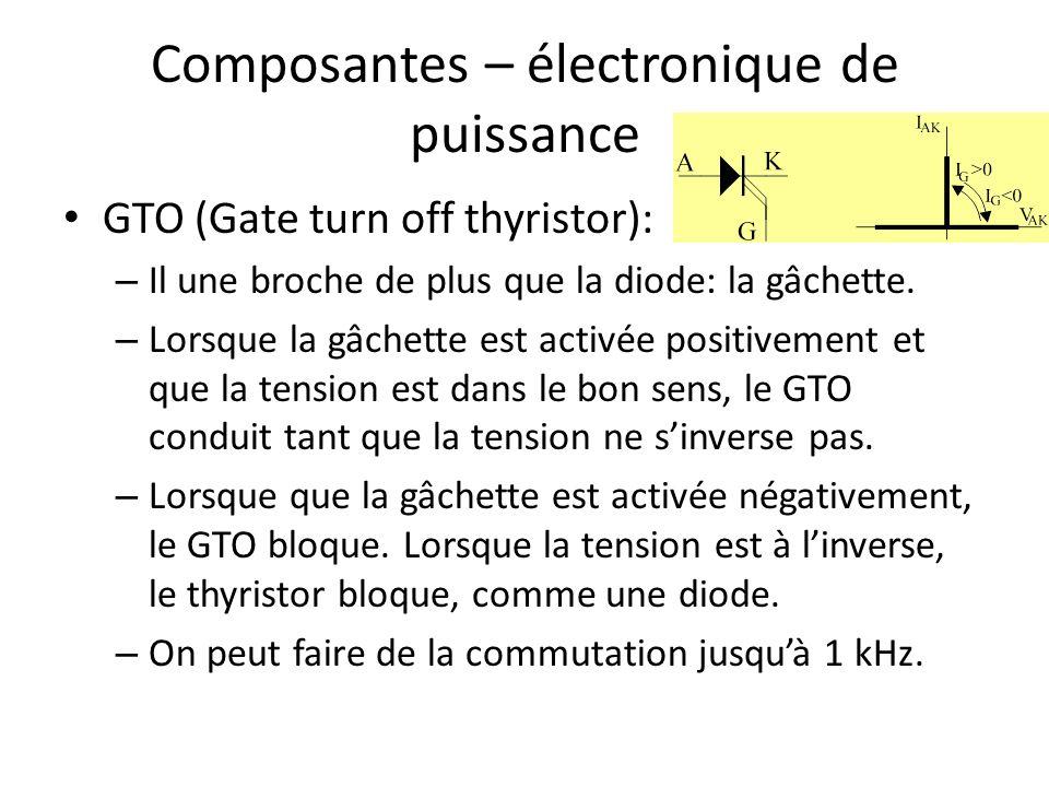 Composantes – électronique de puissance GTO (Gate turn off thyristor): – Il une broche de plus que la diode: la gâchette.