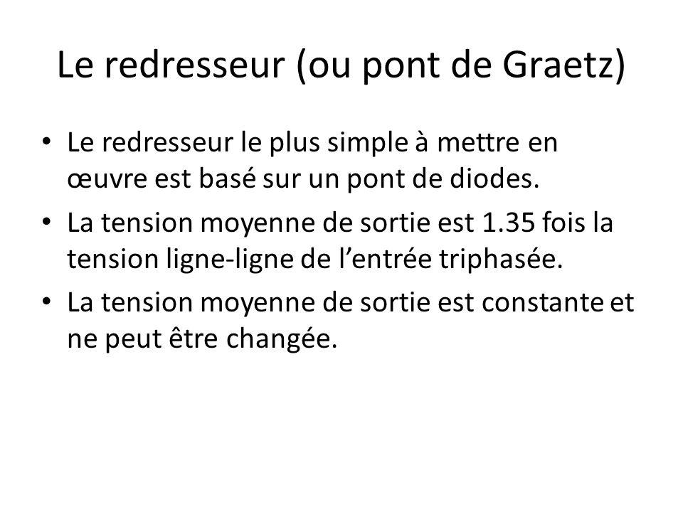 Le redresseur (ou pont de Graetz) Le redresseur le plus simple à mettre en œuvre est basé sur un pont de diodes. La tension moyenne de sortie est 1.35