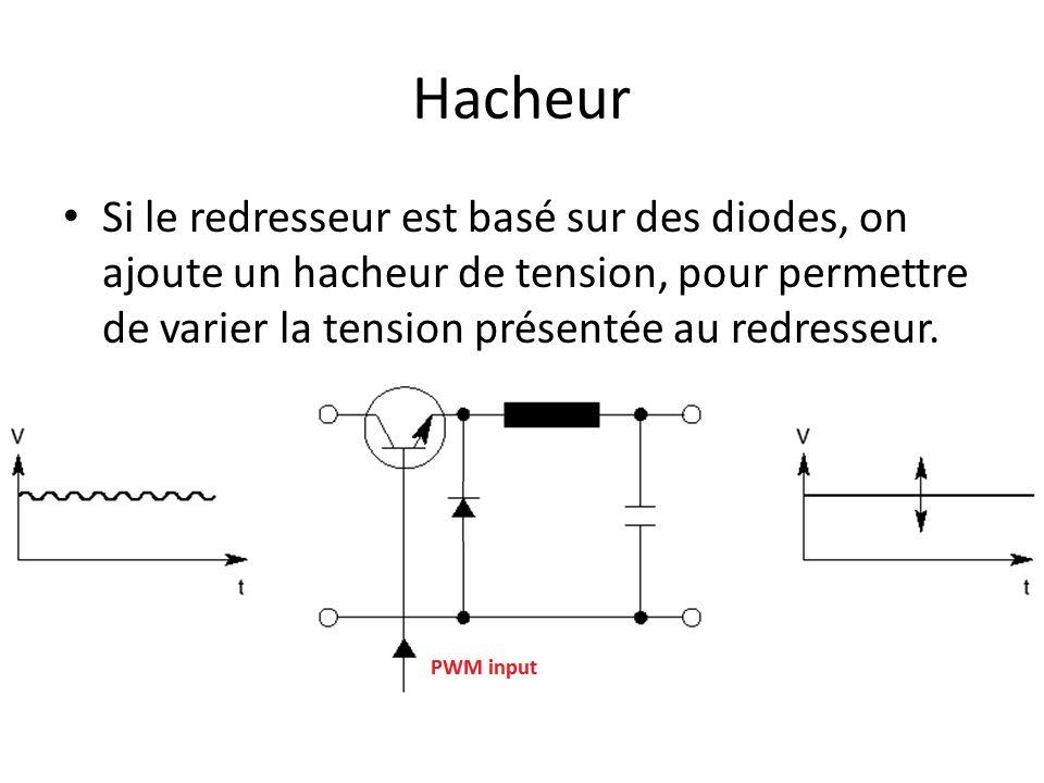 Hacheur Si le redresseur est basé sur des diodes, on ajoute un hacheur de tension, pour permettre de varier la tension présentée au redresseur.