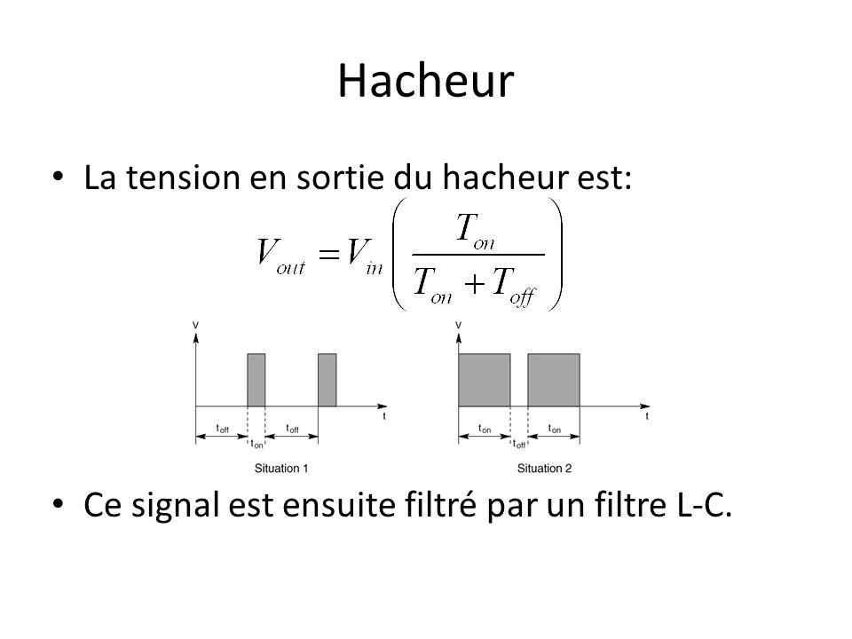 Hacheur La tension en sortie du hacheur est: Ce signal est ensuite filtré par un filtre L-C.