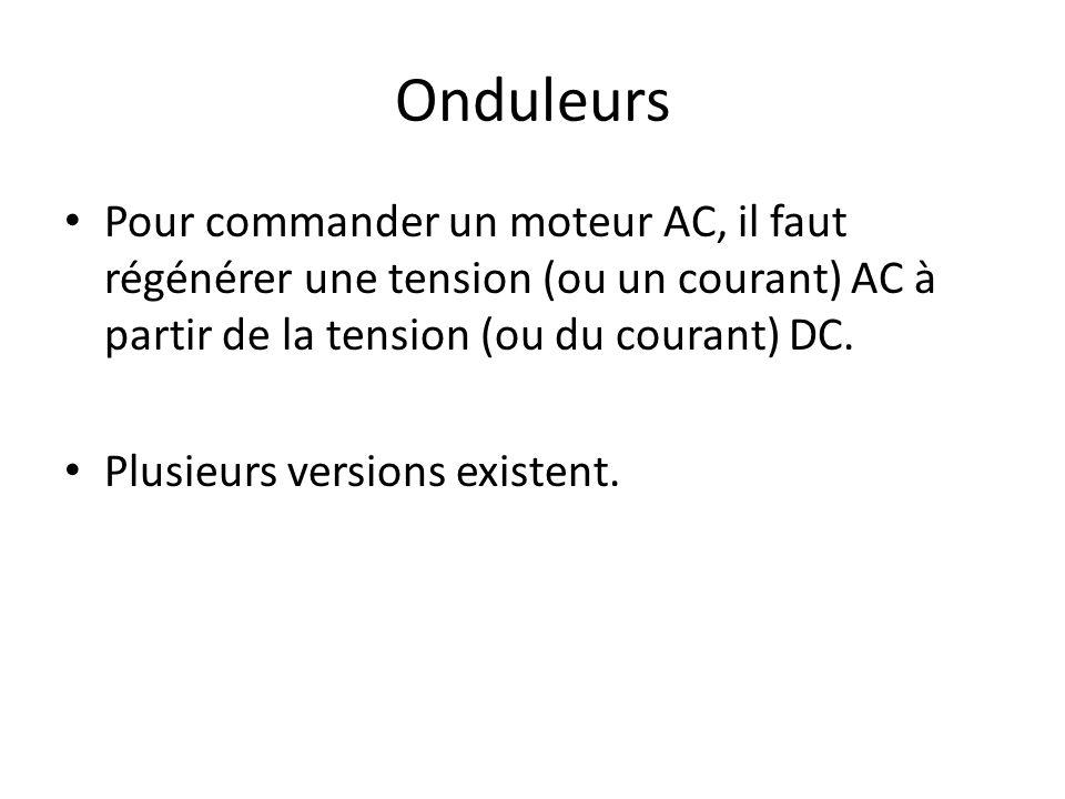 Onduleurs Pour commander un moteur AC, il faut régénérer une tension (ou un courant) AC à partir de la tension (ou du courant) DC. Plusieurs versions