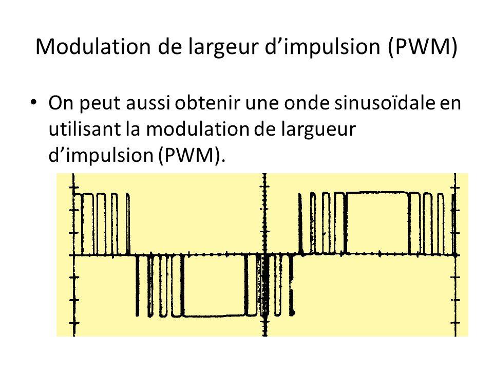 Modulation de largeur dimpulsion (PWM) On peut aussi obtenir une onde sinusoïdale en utilisant la modulation de largueur dimpulsion (PWM).