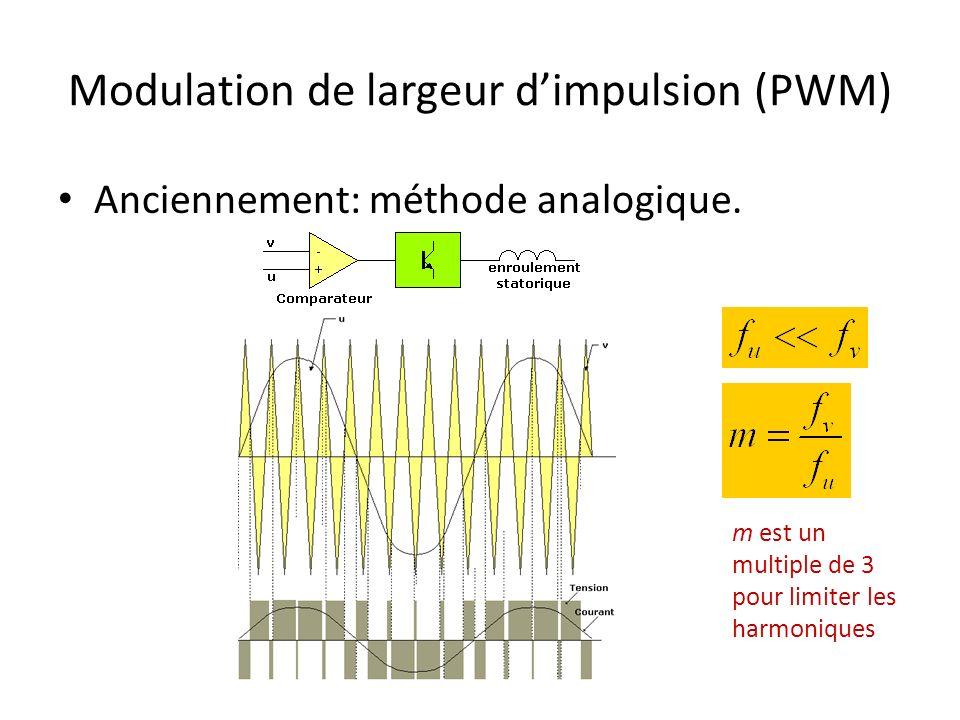 Modulation de largeur dimpulsion (PWM) Anciennement: méthode analogique. m est un multiple de 3 pour limiter les harmoniques