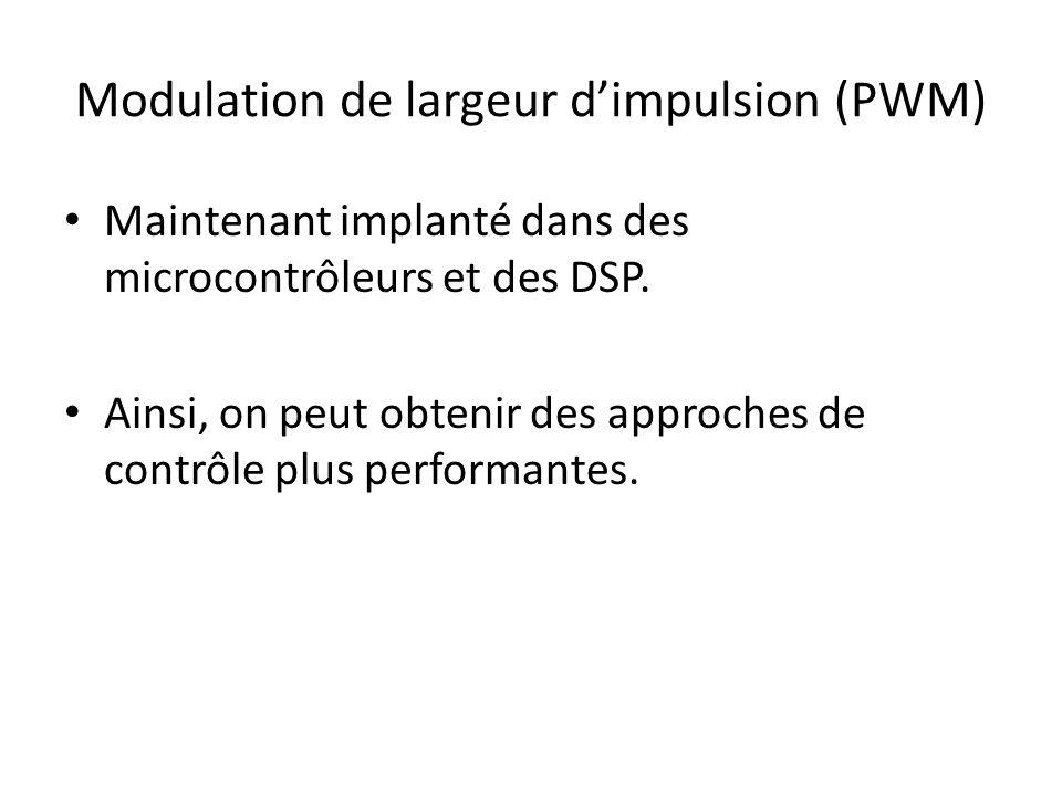 Modulation de largeur dimpulsion (PWM) Maintenant implanté dans des microcontrôleurs et des DSP.