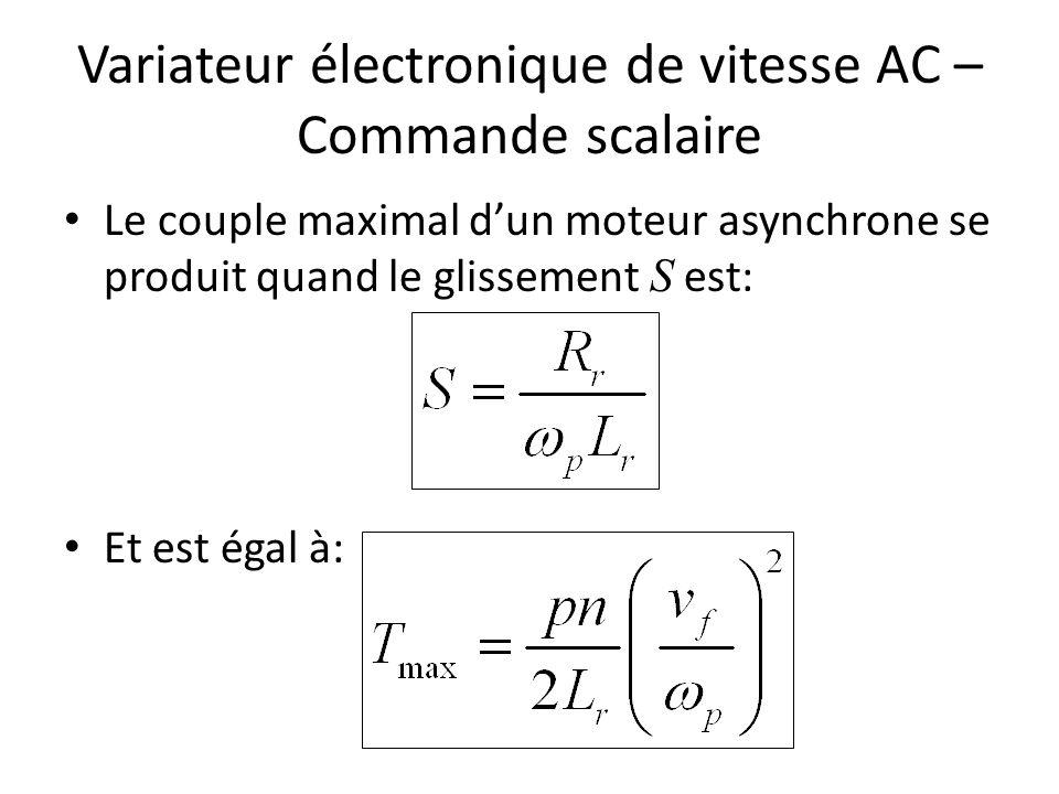 Variateur électronique de vitesse AC – Commande scalaire Le couple maximal dun moteur asynchrone se produit quand le glissement S est: Et est égal à: