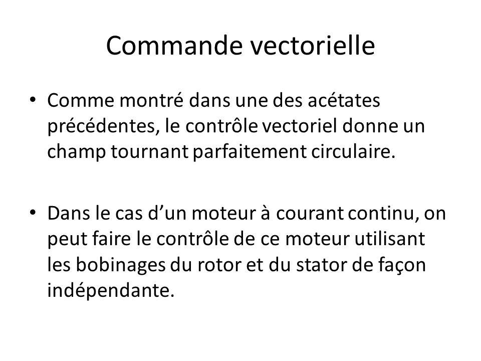 Commande vectorielle Comme montré dans une des acétates précédentes, le contrôle vectoriel donne un champ tournant parfaitement circulaire. Dans le ca