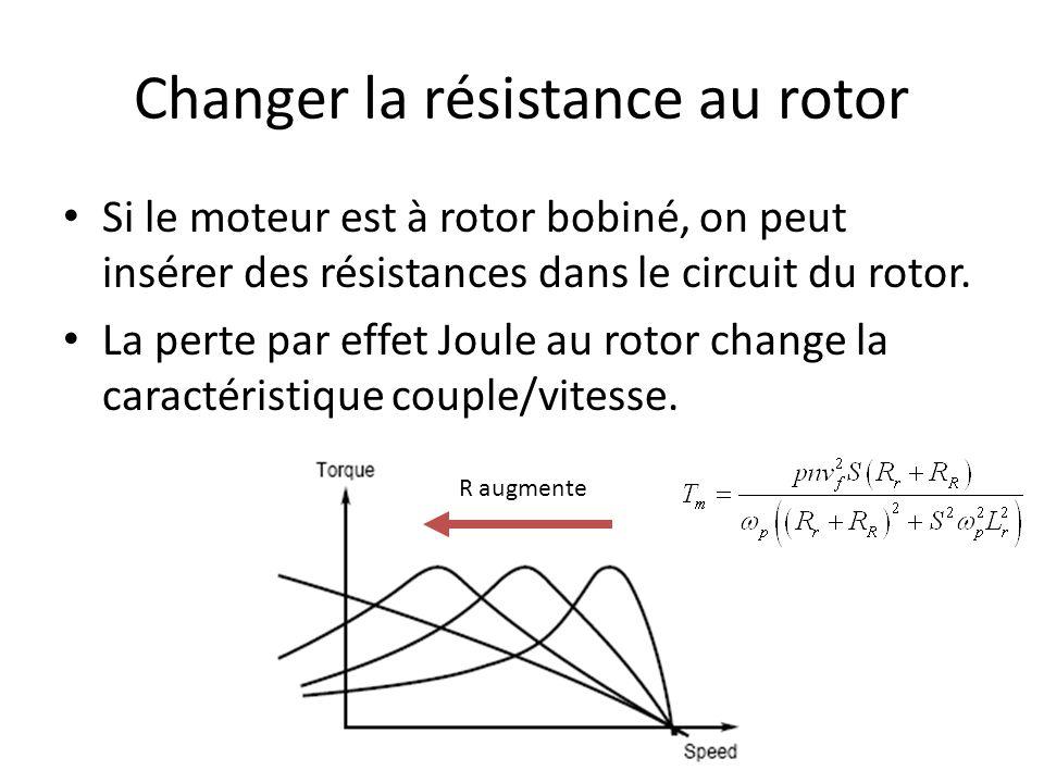 Changer la résistance au rotor Si le moteur est à rotor bobiné, on peut insérer des résistances dans le circuit du rotor. La perte par effet Joule au