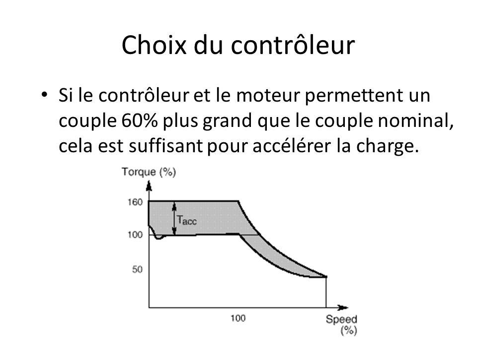 Choix du contrôleur Si le contrôleur et le moteur permettent un couple 60% plus grand que le couple nominal, cela est suffisant pour accélérer la char