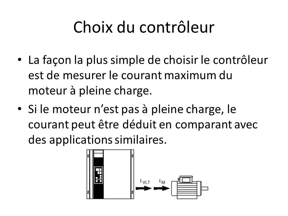 Choix du contrôleur La façon la plus simple de choisir le contrôleur est de mesurer le courant maximum du moteur à pleine charge. Si le moteur nest pa