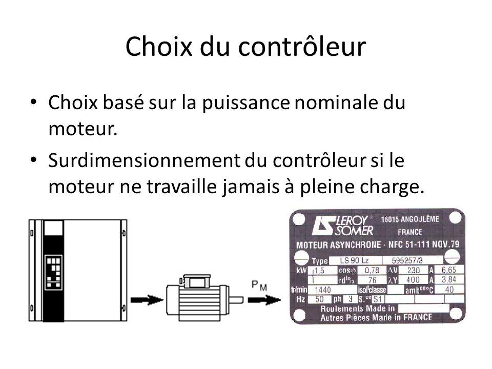 Choix du contrôleur Choix basé sur la puissance nominale du moteur. Surdimensionnement du contrôleur si le moteur ne travaille jamais à pleine charge.