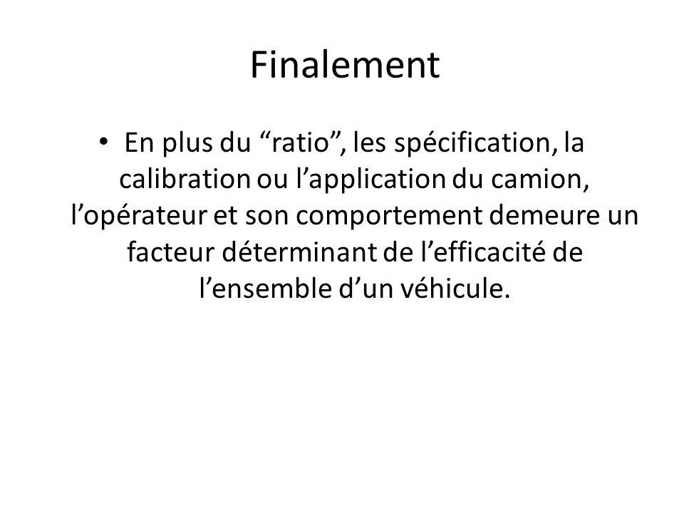 Finalement En plus du ratio, les spécification, la calibration ou lapplication du camion, lopérateur et son comportement demeure un facteur déterminant de lefficacité de lensemble dun véhicule.