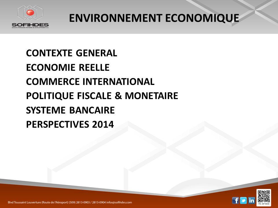 ENVIRONNEMENT ECONOMIQUE CONTEXTE GENERAL ECONOMIE REELLE COMMERCE INTERNATIONAL POLITIQUE FISCALE & MONETAIRE SYSTEME BANCAIRE PERSPECTIVES 2014