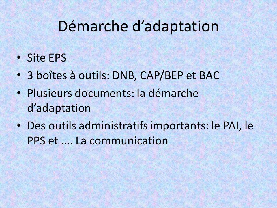 Démarche dadaptation Site EPS 3 boîtes à outils: DNB, CAP/BEP et BAC Plusieurs documents: la démarche dadaptation Des outils administratifs importants: le PAI, le PPS et ….