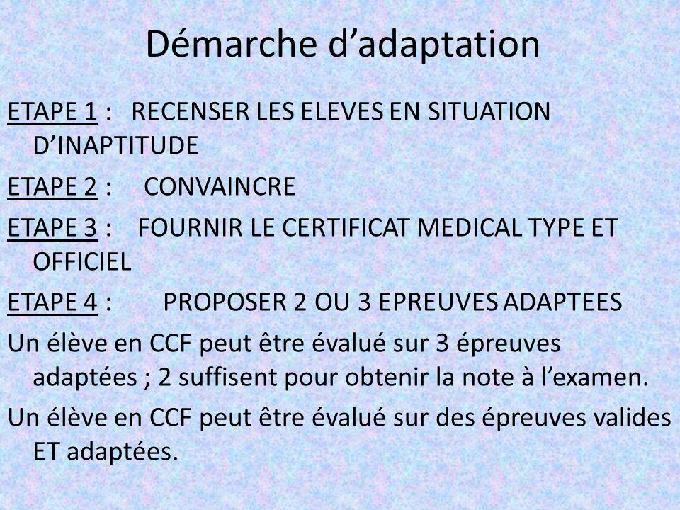 Démarche dadaptation ETAPE 1 : RECENSER LES ELEVES EN SITUATION DINAPTITUDE ETAPE 2 : CONVAINCRE ETAPE 3 : FOURNIR LE CERTIFICAT MEDICAL TYPE ET OFFICIEL ETAPE 4 : PROPOSER 2 OU 3 EPREUVES ADAPTEES Un élève en CCF peut être évalué sur 3 épreuves adaptées ; 2 suffisent pour obtenir la note à lexamen.