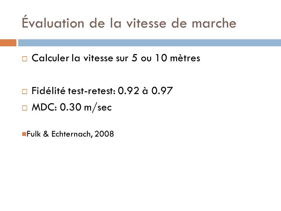 Évaluation de la vitesse de marche Calculer la vitesse sur 5 ou 10 mètres Fidélité test-retest: 0.92 à 0.97 MDC: 0.30 m/sec Fulk & Echternach, 2008