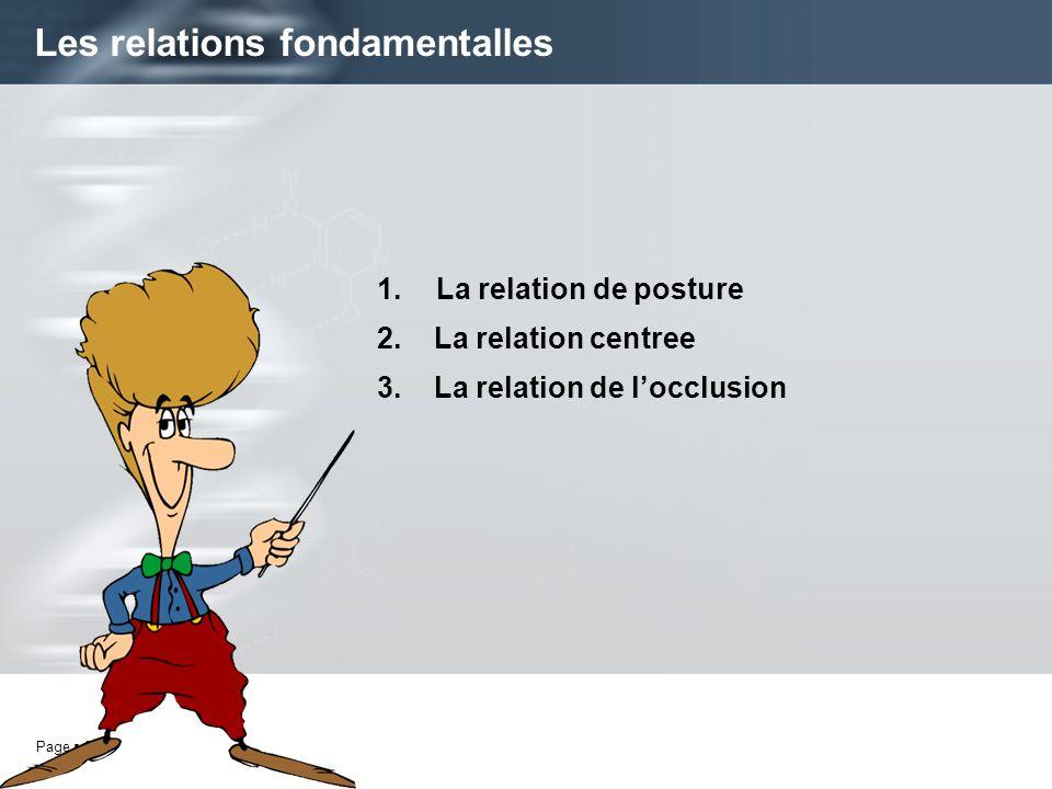 Page 2 1.La relation de posture 2. La relation centree 3. La relation de locclusion Les relations fondamentalles