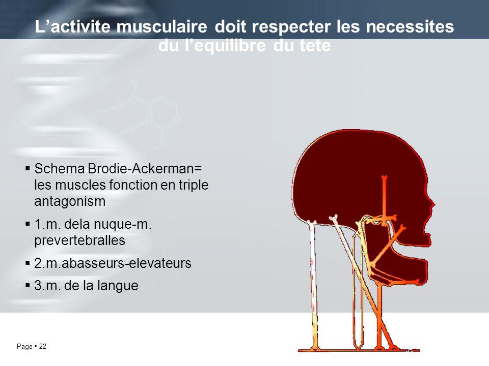 Page 22 Schema Brodie-Ackerman= les muscles fonction en triple antagonism 1.m. dela nuque-m. prevertebralles 2.m.abasseurs-elevateurs 3.m. de la langu