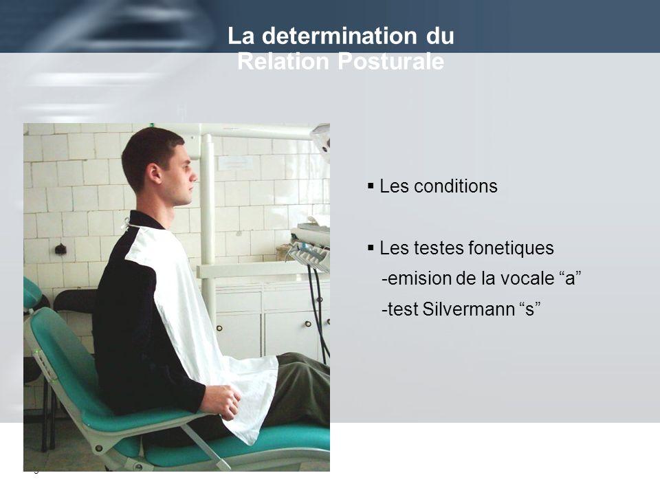 Page 23 Les conditions Les testes fonetiques -emision de la vocale a -test Silvermann s La determination du Relation Posturale