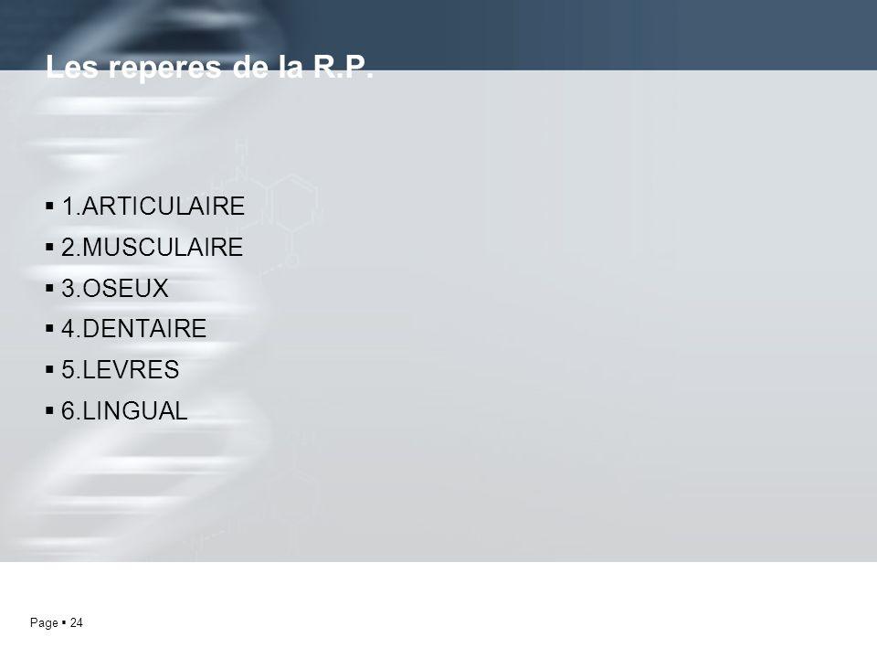 Page 24 1.ARTICULAIRE 2.MUSCULAIRE 3.OSEUX 4.DENTAIRE 5.LEVRES 6.LINGUAL Les reperes de la R.P.